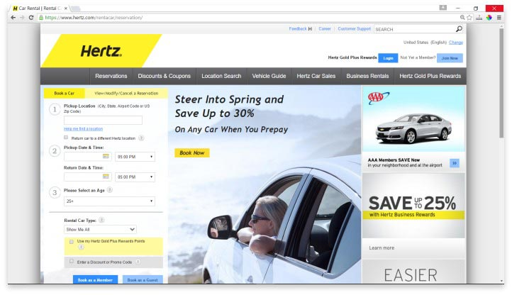 Hertz Website