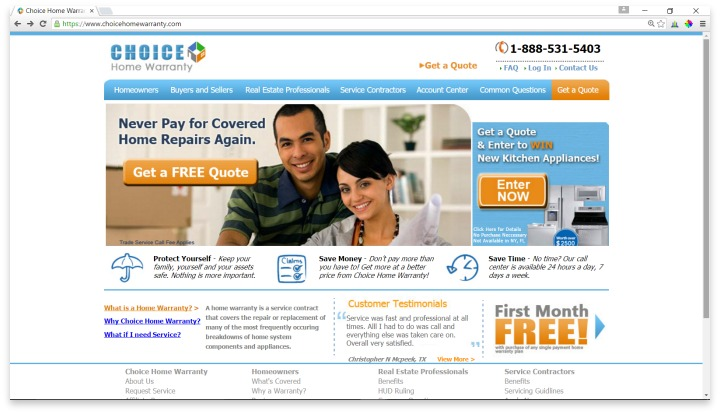 Choice Home Warranty Website
