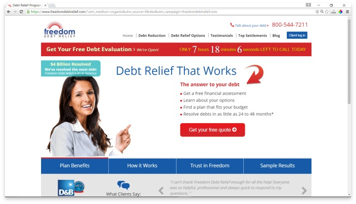 Freedom Debt Relief Website