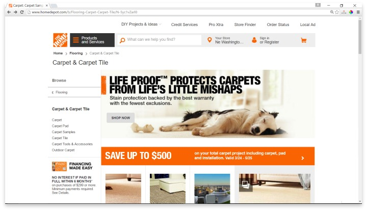 Home Depot Carpet Website
