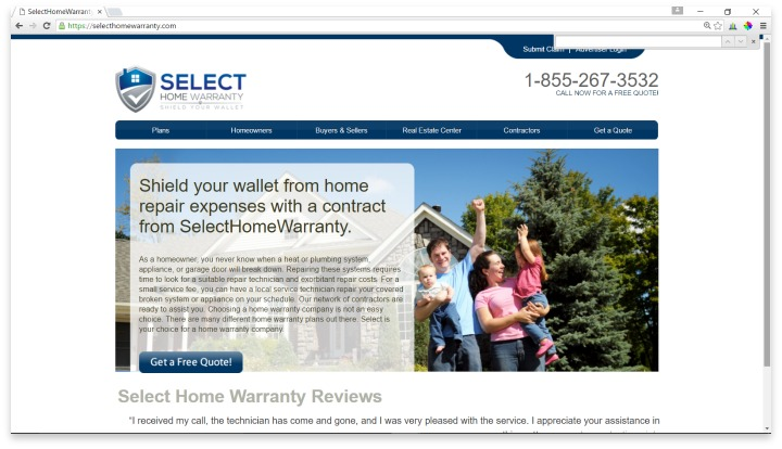 Select Home Warranty Website