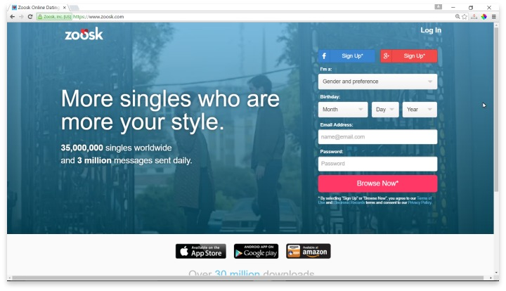 Zoosk Website