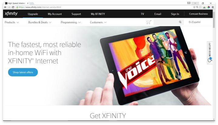 Xfinity Website