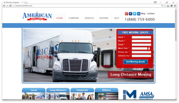 American Van Lines Website