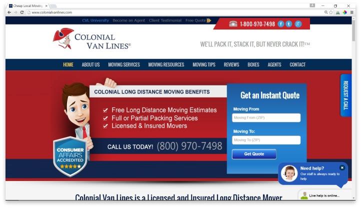 Colonial Van Lines Website