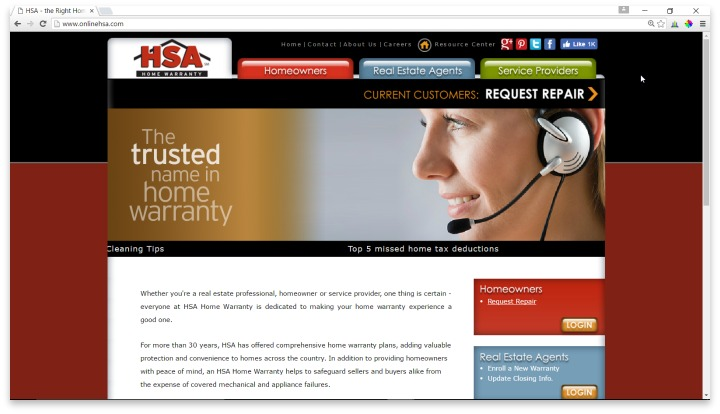 HSA Home Warranty Website