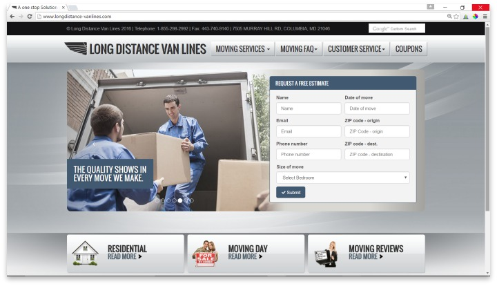 Long Distance Van Lines Website