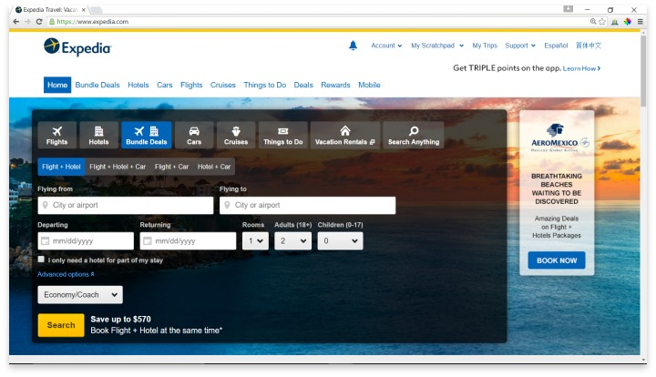 Expedia Website