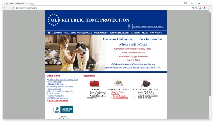 Old Republic Home Protection Website