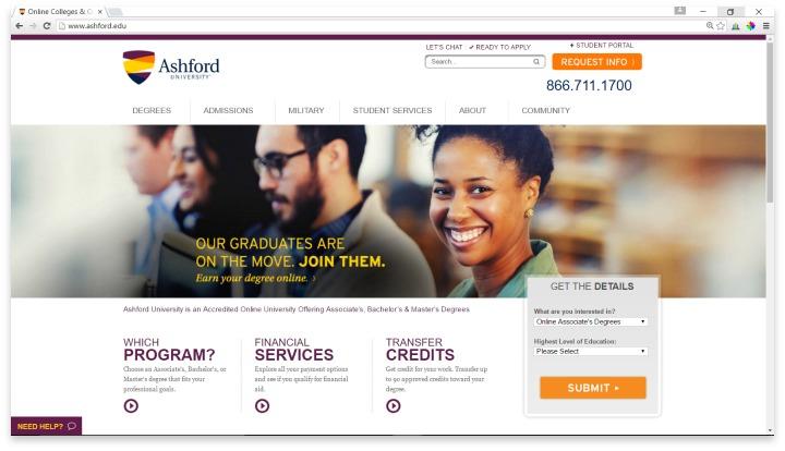 Ashford University Website