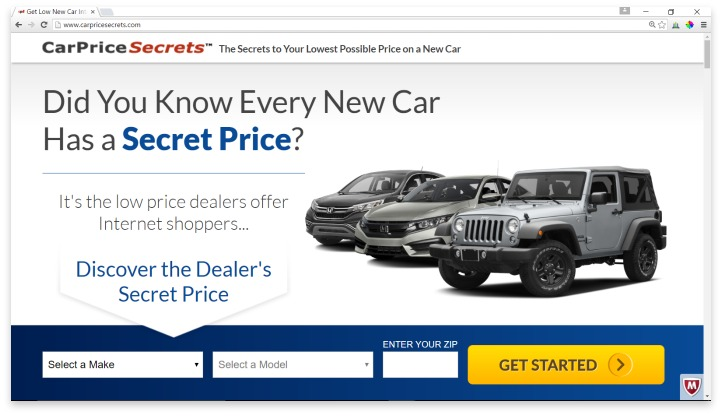 CarPriceSecrets.com Website